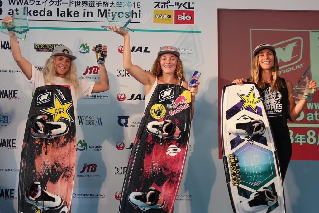 Australian Harley Clifford and Meagan Ethell (USA) win the 2018 Nautique WWA Wakeboard World Championships in Miyoshi City